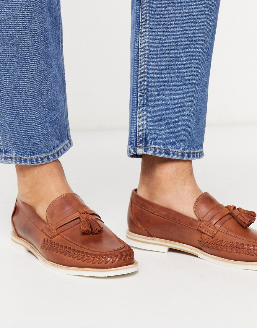 H By Hudson - Cannock - Brune saddle loafers i læder-Tan