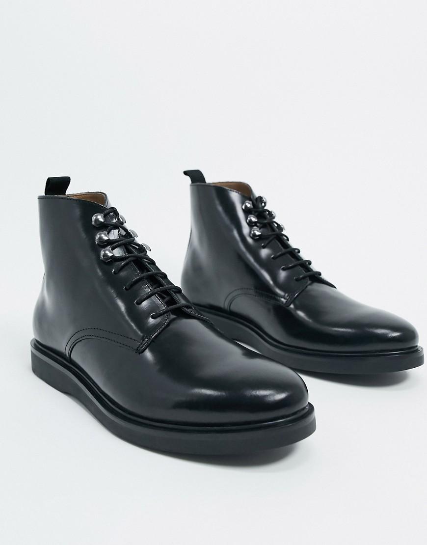 H By Hudson - sorte kampstøvler i skinnende læder