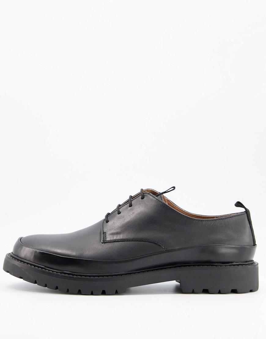H by Hudson - Thetford - Sorte snøresko i læder med sømdetalje