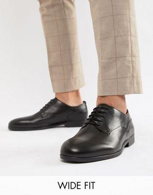 Image 1 sur H By Hudson Wide Fit - Axminster - Chaussures habillées en cuir - Noir