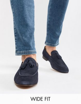 Image 1 of H By Hudson Wide Fit Bolton tassel loafers in navy suede