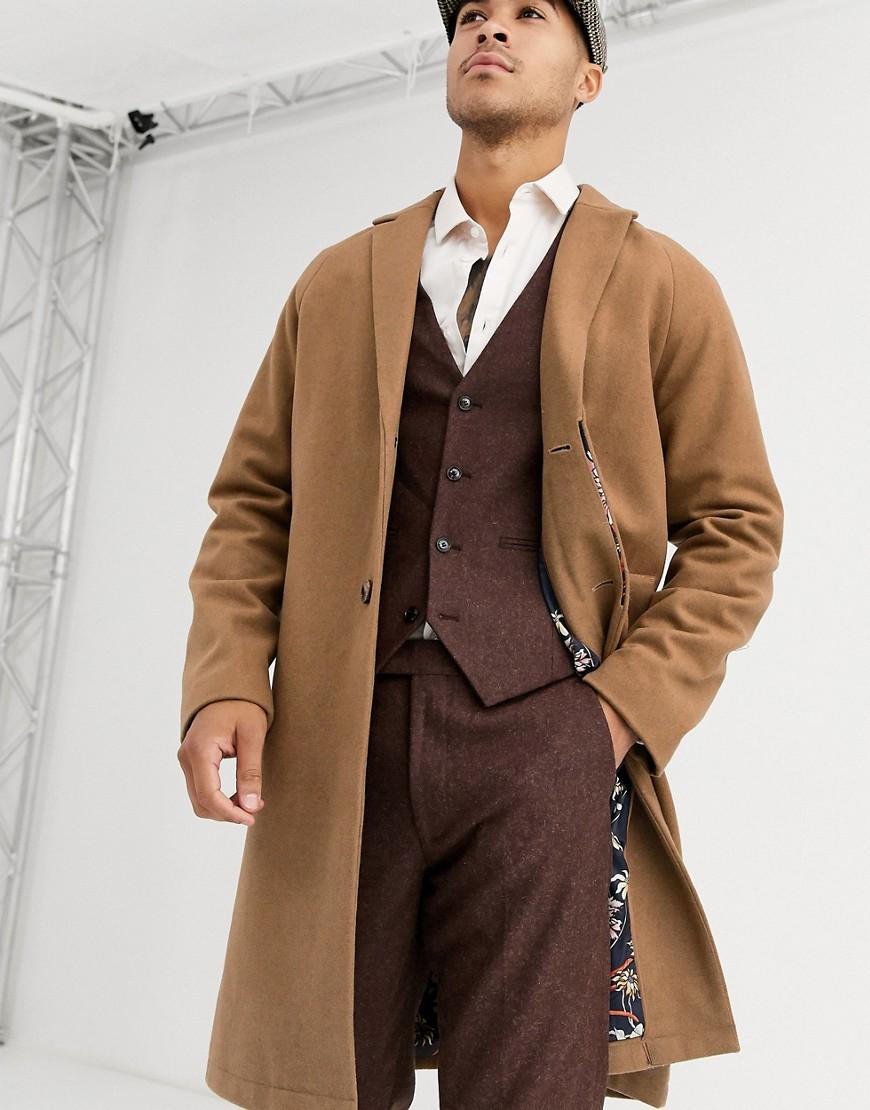 Harry Brown – Cocoon-Mantel aus hochwertiger Wollmischung-Braun | Bekleidung > Mäntel > Wollmäntel | Harry Brown