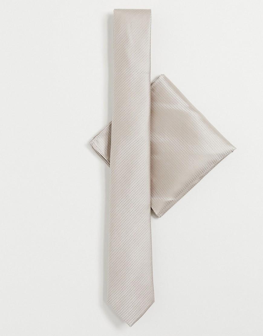 Harry Brown— Ensfarvet slips og lommetørklæde-Neutral