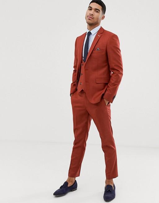 Harry Brown - Pantalon de costume skinny court en tissu stretch texturé - Rouge brûlé