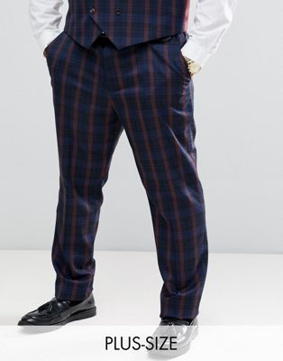 Image 1 of Harry Brown Plus navy and burgundy check slim fit suit pants