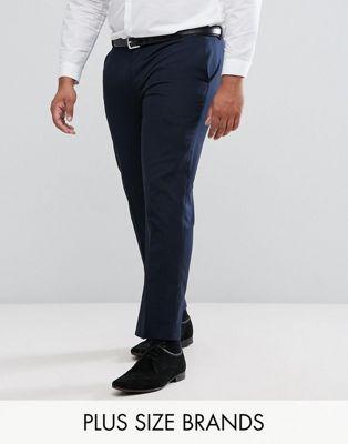 Harry Brown PLUS Plain Black Slim Fit Tuxedo Suit Pants