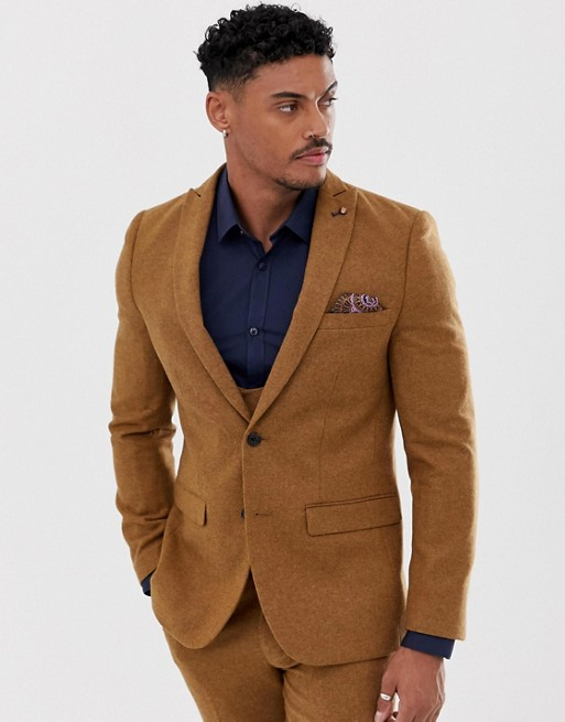 Image 1 of Harry Brown slim fit 50% wool tweed suit jacket