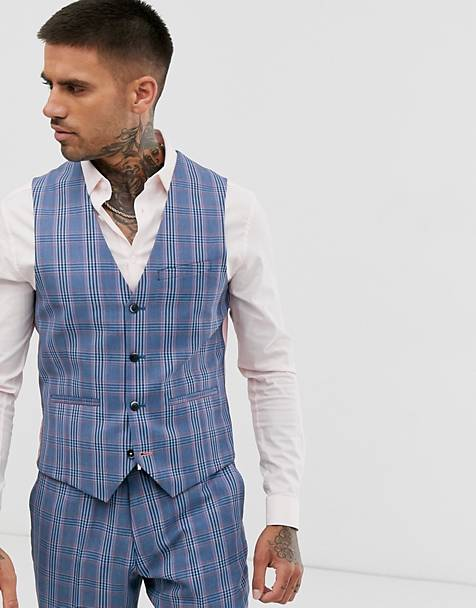 Harry Brown slim fit summer check suit suit vest