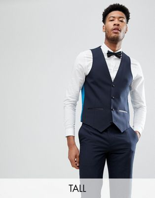 Harry Brown TALL Plain Navy Slim Tuxedo Waistcoat