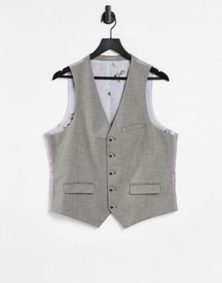 Image 1 of Harry Brown Taupe Textured Stretch Skinny Fit Wedding Suit Vest