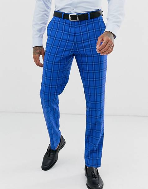 Harry Brown wedding slim fit bold blue check suit pants