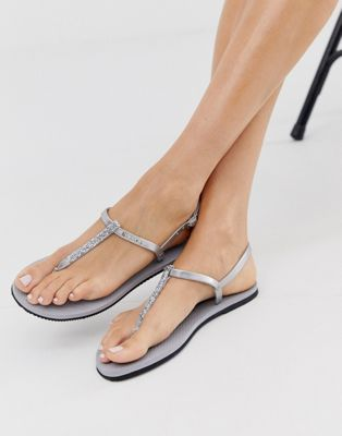 Image 1 of Havaianas glitter toe post sandal in silver