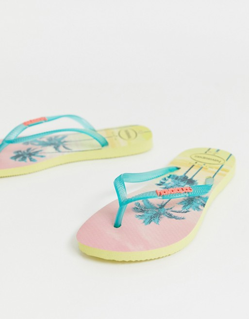 Image 1 of Havaianas slim flip flops in tropical palm print