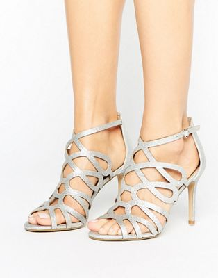 Head Over Heels By Dune Mae Silver Caged Heel Sandals