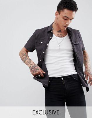 Heart & Dagger – Kortärmad skjorta i twill
