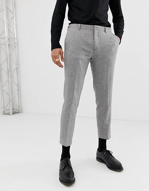 Heart & Dagger - Pantaloni da abito slim grigio a spina di pesce