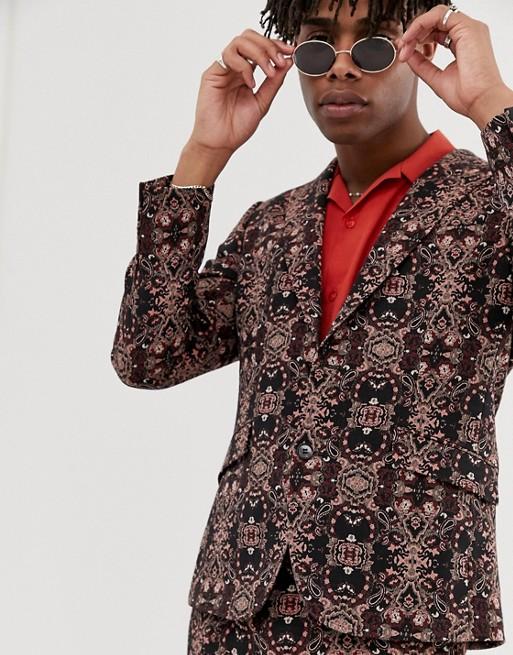 Heart & Dagger skinny sb2 peak suit jacket in tapestry