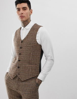 Image 1 of Heart & Dagger slim suit waistcoat in charcoal harris tweed