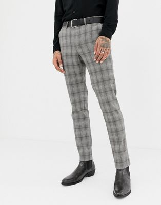 Heart & Dagger super skinny suit PANTS in gray check
