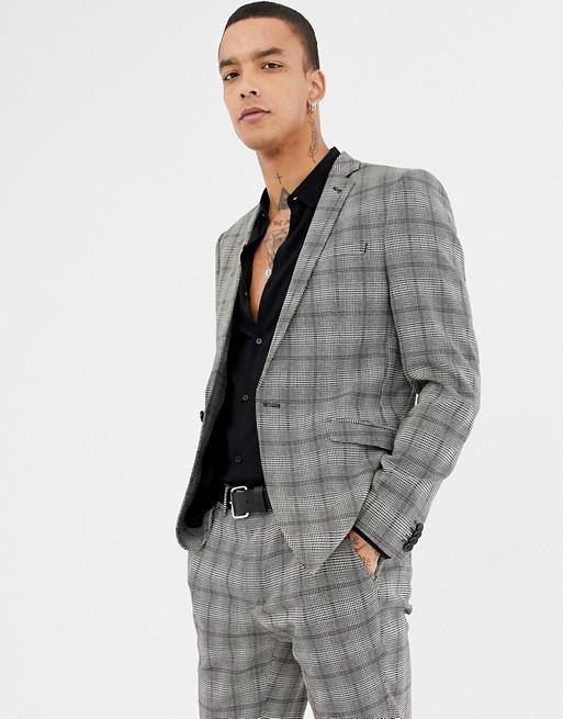 Heart & Dagger - Veste de costume ultra-ajustée - Carreaux gris
