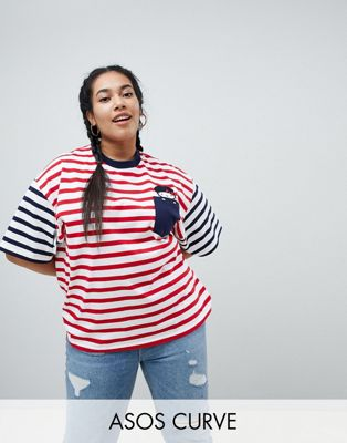 Hello Kitty x ASOS CURVE Oversized T-Shirt With Peeping Embroidered Motif