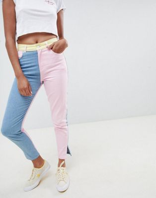 Hello Kitty x ASOS DESIGN colour block jeans with embroidery detail