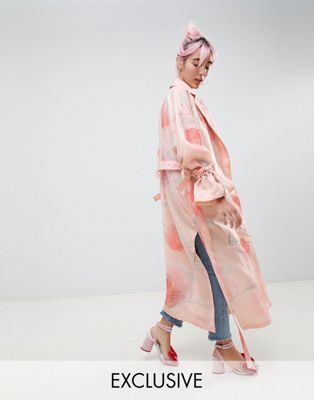 Hello Kitty x ASOS DESIGN trench duster coat In floral print