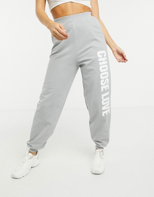 Help Refugees Choose Love jogger in organic cotton in grey | ASOS