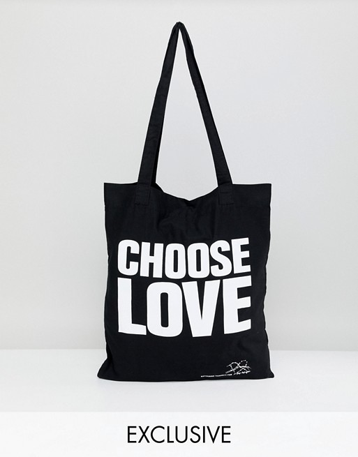 5c51d0b2de8c Help Refugees Choose Love tote bag in organic cotton