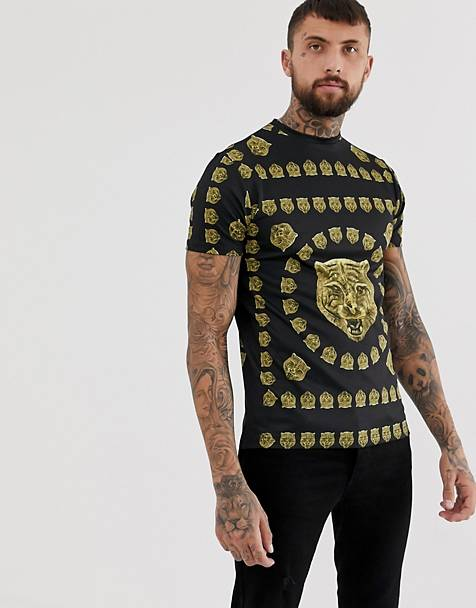 Hermano muscle fit t-shirt with tiger print