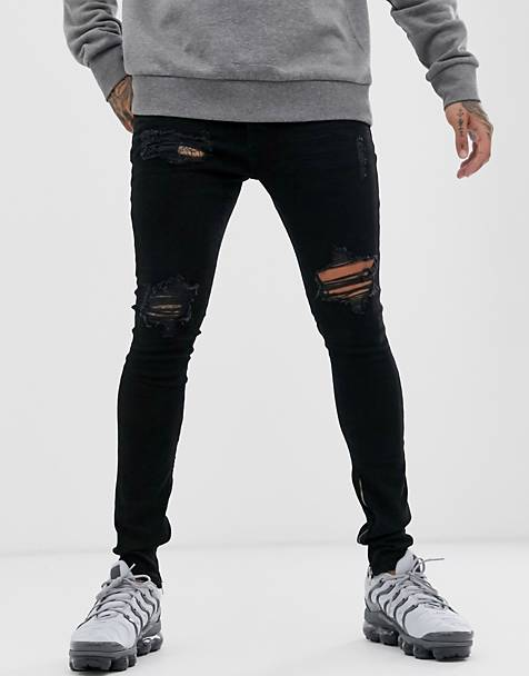 Hermano rip and repair skinny jeans in black