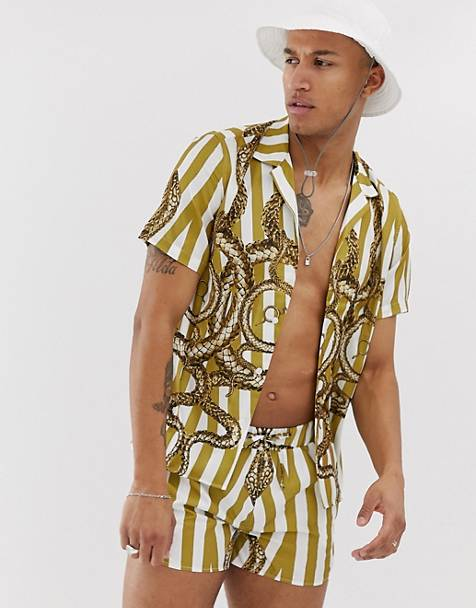 Hermano two-piece revere collar shirt with snake print