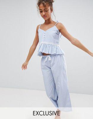 Hey Peachy - Gestreepte pyjamaset van katoen, blauw