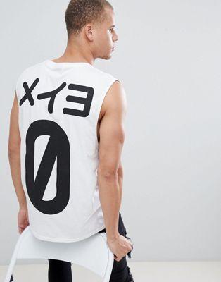 HNR LDN - Mouwloos T-shirt met Zero-print op de achterkant