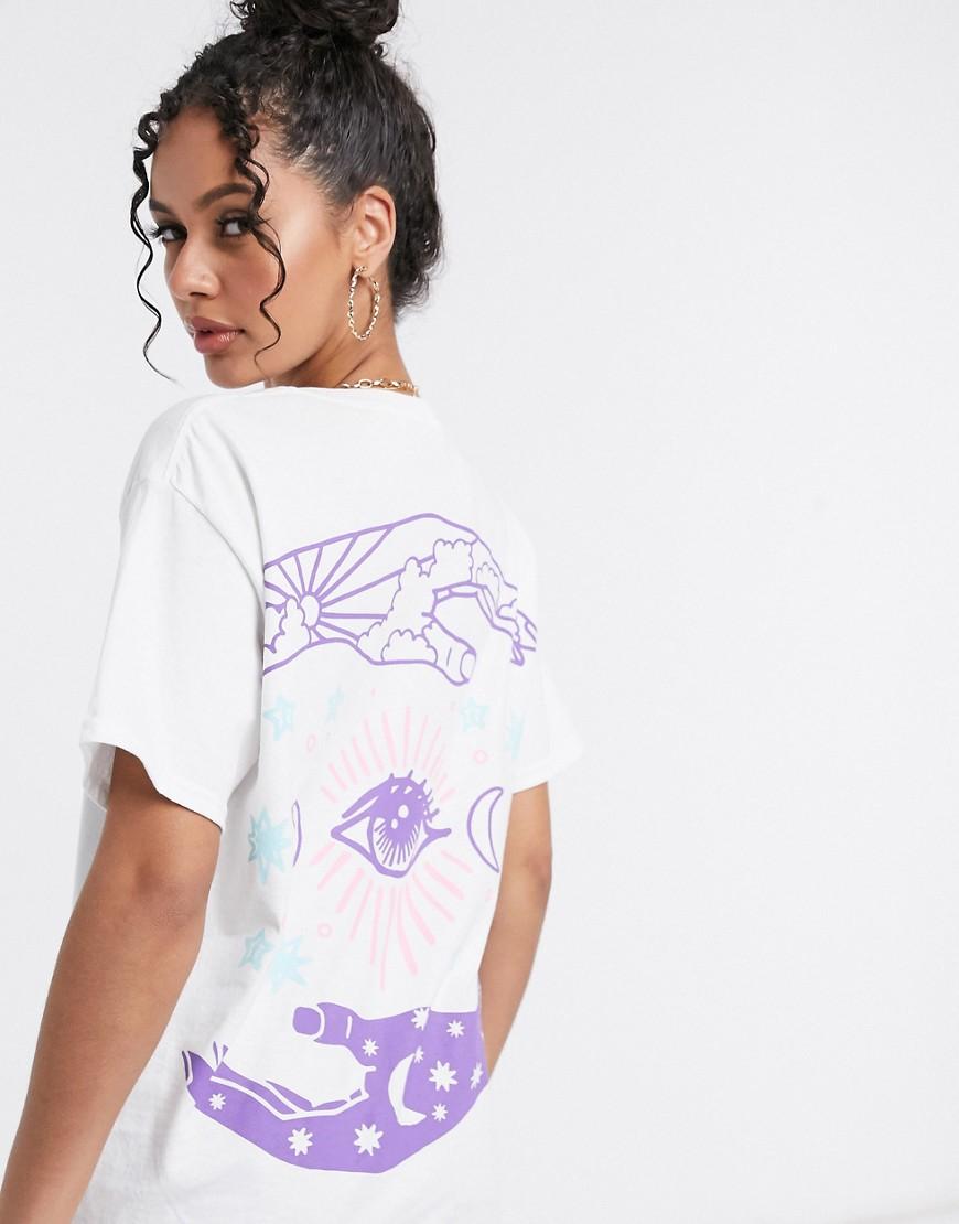 HNR - LDN - Oversized T-shirt med grafisk print på ryggen i hvid