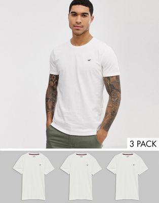 Hollister – 3er-Pack T-Shirts mit Rundhalsausschnitt und Möwenlogo, in Weiß