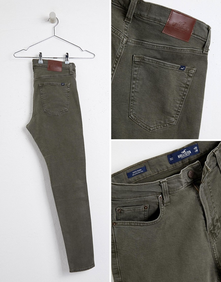 Hollister 5 Pocket Superskinny Biker Detail Pants In Ivy Green by Hollister