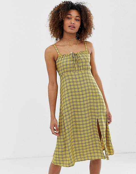 Hollister babydoll midi dress in check