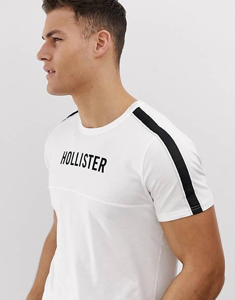 Hollister chest logo and sleeve taping t-shirt in white
