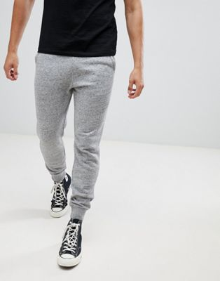 Image 1 of Hollister core icon logo cuffed jogger in gray marl