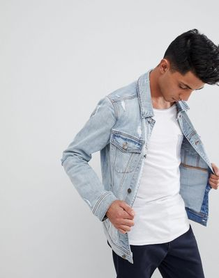 Hollister Denim Trucker Distressed Jacket in Light Wash