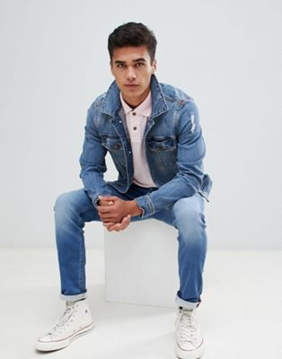 Hollister Denim trucker jacket in mid wash
