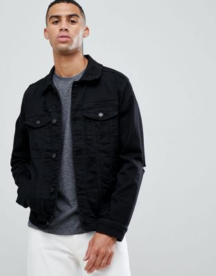 Hollister denim trucker jacket with elbow rip in black