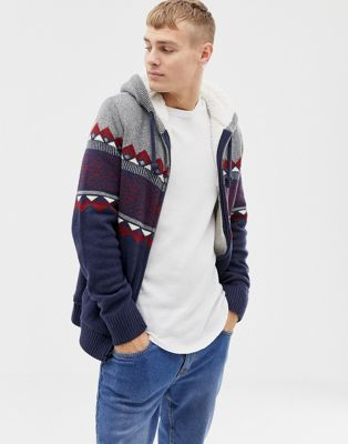 Image 1 of Hollister fairisle chest stripe hooded cardigan fleece lined in navy
