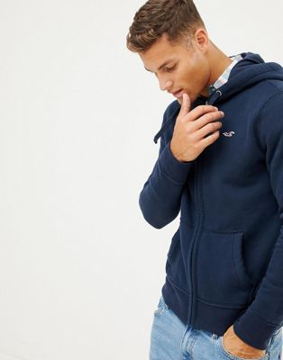 Image 1 of Hollister icon logo full zip hoodie in navy
