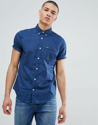 Image 1 of Hollister short sleeve oxford shirt slim fit button down in navy