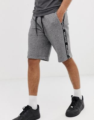 Hollister side tape print logo sweat shorts in gray marl