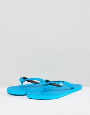 Hollister Solid Rubber Logo Flip Flop in Blue