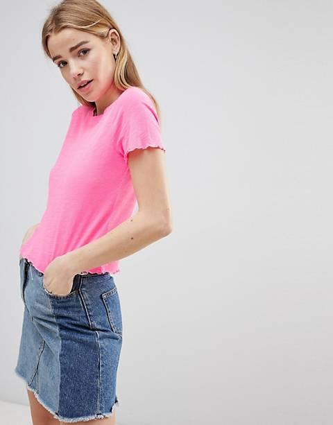 Hollister - T-shirt court avec ourlet festonné