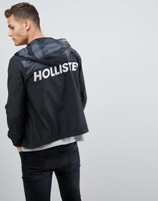 Hollister unlined lightweight hooded jacket with black camo & solid